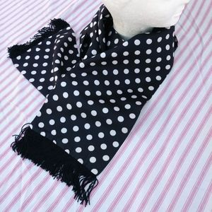 1970s Black White Polka Dot Sash Scarf Headband